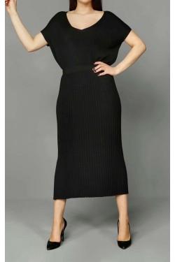 Siyah Midi Triko Elbise