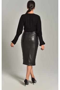 Siyah Gömlek & İnci Detaylı Etek Takım