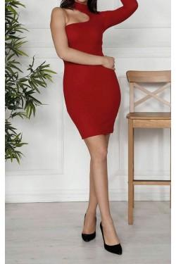 Omuz Detay Bordo Mini Triko Elbise