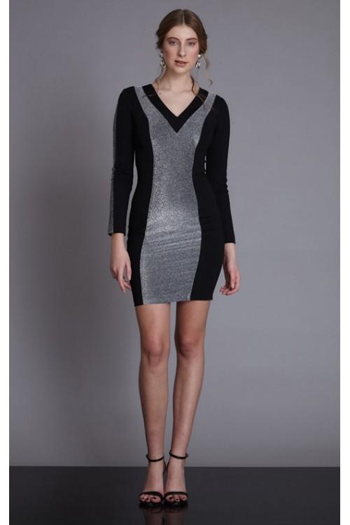 Çift Renk Mini Örme Elbise