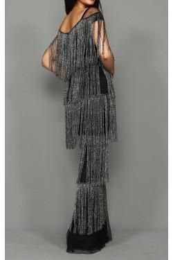 Antrasit Saçaklı Uzun Abiye Elbise