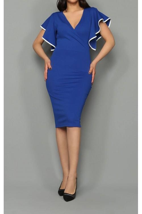 Kolları Volanlı Saks Midi Elbise