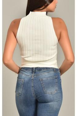 Beli Çapraz Beyaz Triko Bluz
