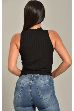 Beli Çapraz Siyah Triko Bluz