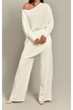 Beyaz Bluz & Pantolon Alt Üst Takım