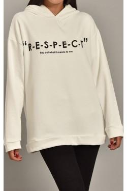 Arkası Yazılı Beyaz Kapüşonlu Kadın Sweatshirt