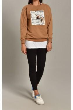 Baskılı Camel Kadın Sweatshirt
