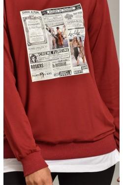 Baskılı Bordo Kadın Sweatshirt