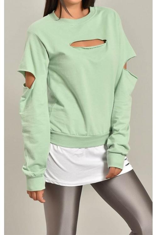 Yırtık Detay Yeşil Kadın Sweatshirt