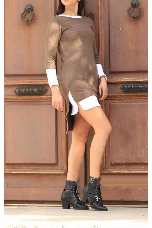 İkili Kahve Triko Elbise