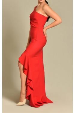 Tek Omuz Eteği Volanlı Kırmızı Abiye Elbise