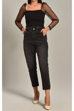 Kolları Tül Üzeri Puantiyeli Siyah Triko Bluz