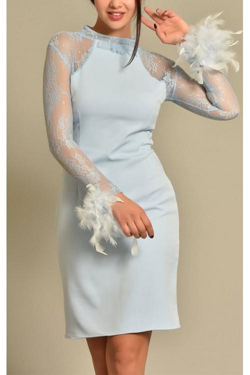 Kolları Dantel Bilekleri Tüy Detaylı Bebemavi Elbise