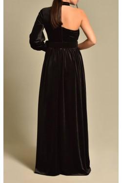 Kemerli Kadife Siyah Abiye Elbise