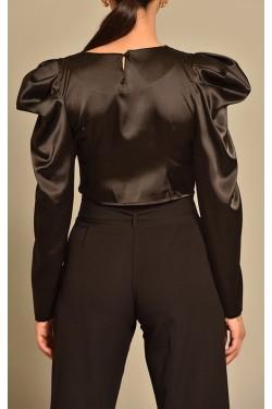 Karpuz Kol Siyah Saten Bluz