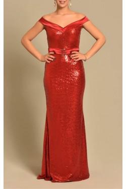 Pul Payet Kayık Yaka Kırmızı Abiye Elbise