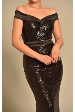 Pul Payet Kayık Yaka Siyah Abiye Elbise