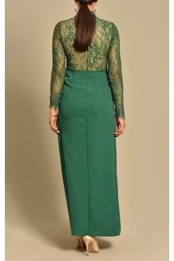 Üzeri Güpür Eteği Yırtmaçlı Yeşil Abiye Elbise