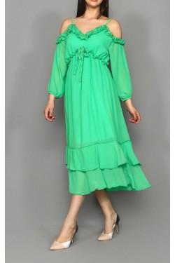 Yeşil Midi Boy Şifon Elbise