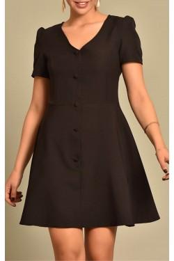 Düğme Detaylı Siyah Elbise