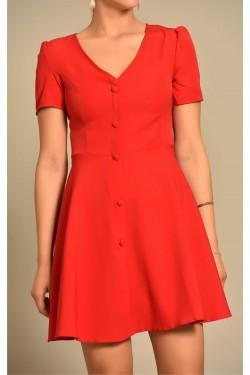 Düğme Detaylı Kırmızı Elbise