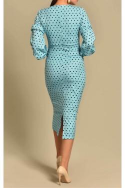 Puantiyeli Kolları Büzgülü Bebemavi Elbise
