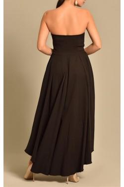 Straplez M Kesim Eteği Asimetrik Siyah Elbise