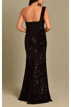 Tek Omuz Pul Payet Siyah Abiye Elbise