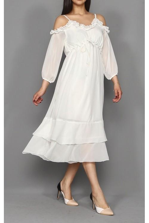 Beyaz Midi Boy Şifon Elbise