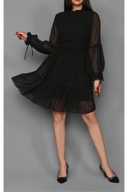 Puantiyeli Siyah Mini Şifon Elbise