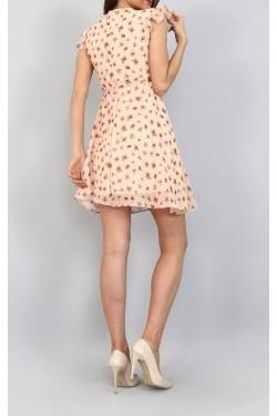 Çiçekli Mini Fırfır Elbise