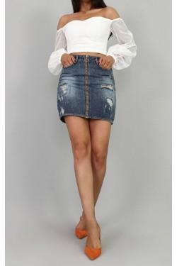 Fermuarlı Yırtık Jean Mini Etek