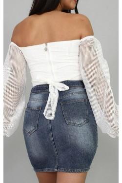 Crop Tasarım Beyaz Bluz