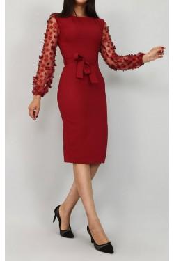 Çiçek Detaylı Tül Kol Bordo Elbise