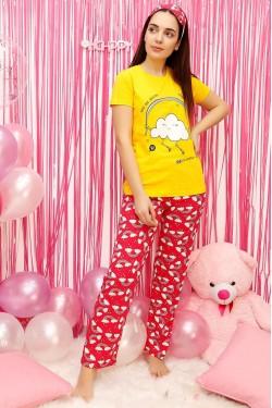 Sarı Kadın Pijama Takımı