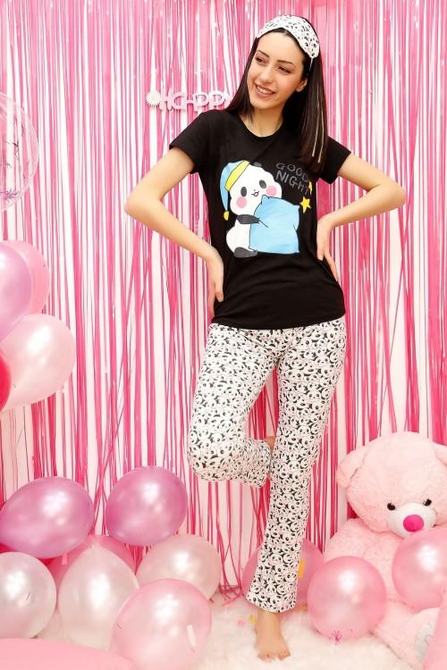 Panda Desenli Siyah Kadın Pijama Takımı