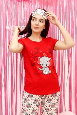 Fil Desenli Kadın Pijama Takımı Kırmızı