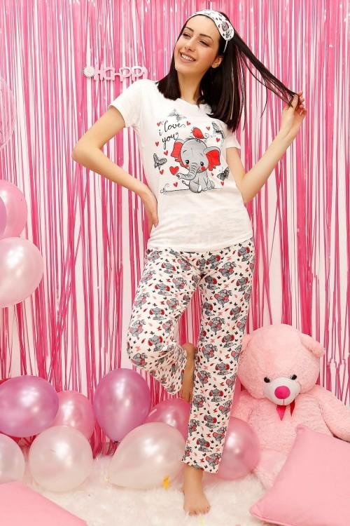 Fil Desenli Kadın Pijama Takımı Beyaz