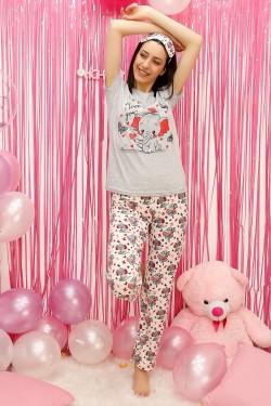 Fil Desenli Kadın Pijama Takımı Gri