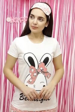Tavşan Desenli Beyaz Kadın Pijama Takımı