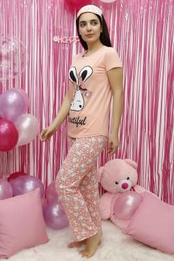 Tavşan Desenli Somon Kadın Pijama Takımı
