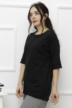 Yırtmaçlı Siyah Penye Tişört
