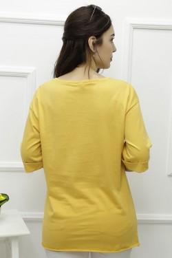 Yırtmaçlı Sarı Penye Tişört
