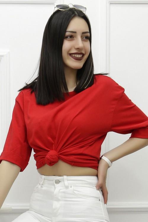 Yırtmaçlı Sarı Kırmızı Tişört