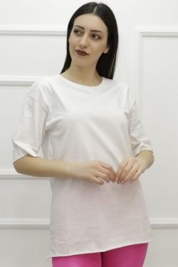Yırtmaçlı Sarı Beyaz Tişört