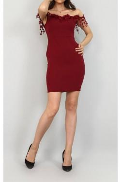 Dantel Detay Açık Omuz Bordo Mini Elbise