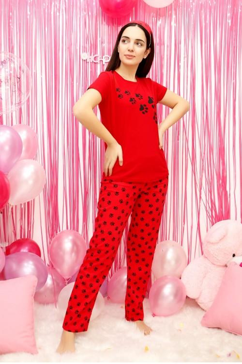Pati Desenli Kırmızı Pijama Takımı