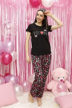 Kedi Desenli Siyah Pijama Takımı