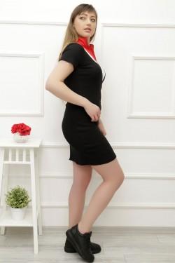 Önü Fermuarlı Siyah Elbise