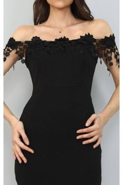 Dantel Detaylı Siyah Mini Elbise